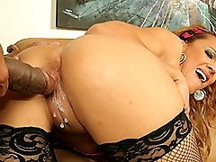Flexible ebony cutie with great tits gets a cream pie pussy